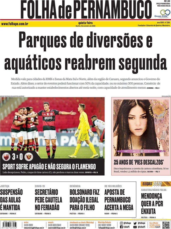 Capa do jornal Folha de Pernambuco 08/10/2020