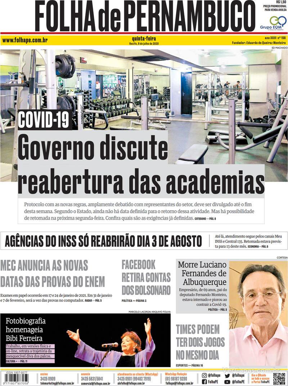 Capa do jornal Folha de Pernambuco 09/07/2020