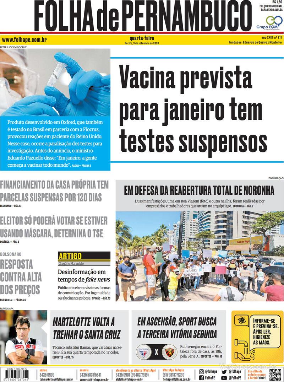 Capa do jornal Folha de Pernambuco 09/09/2020
