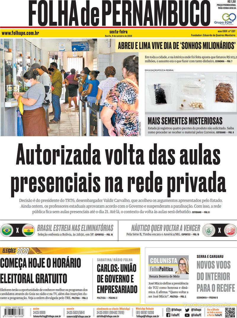 Capa do jornal Folha de Pernambuco 09/10/2020