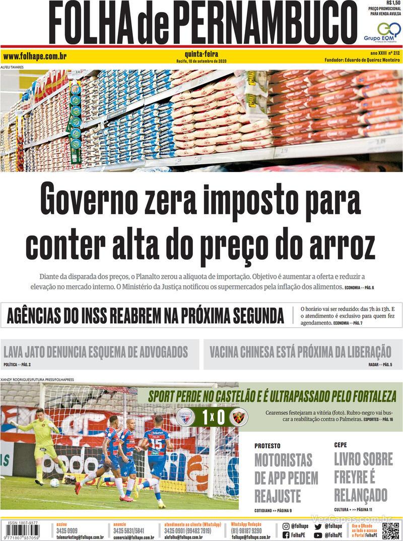 Capa do jornal Folha de Pernambuco 10/09/2020