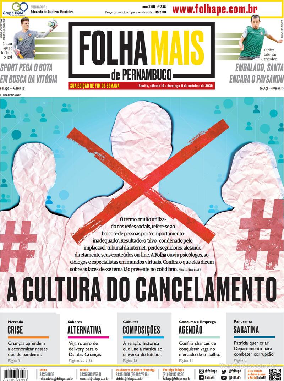 Capa do jornal Folha de Pernambuco 10/10/2020