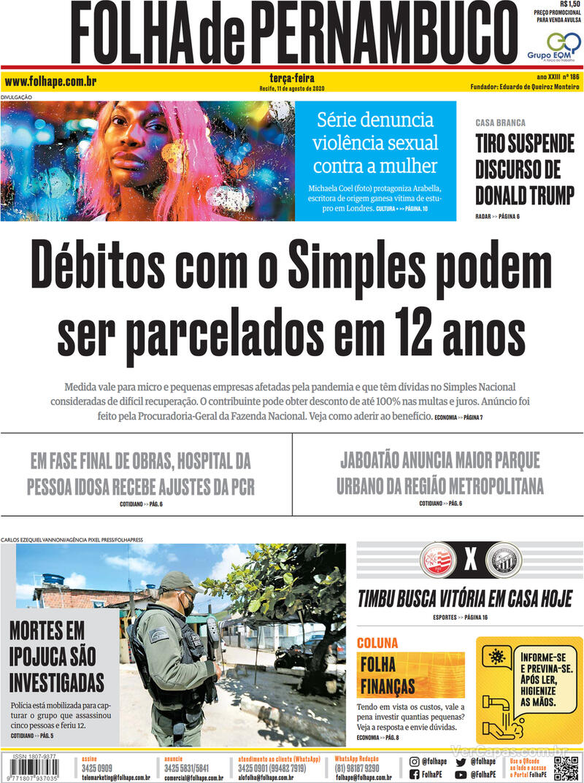 Capa do jornal Folha de Pernambuco 11/08/2020