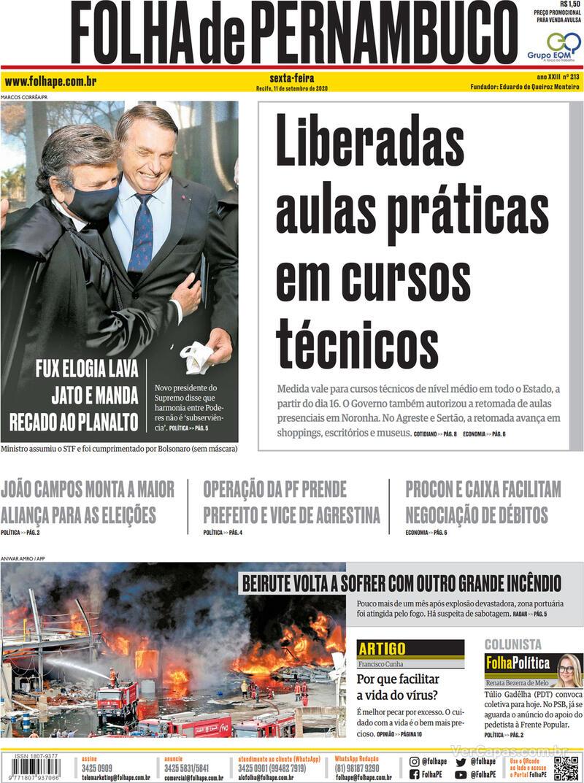 Capa do jornal Folha de Pernambuco 11/09/2020