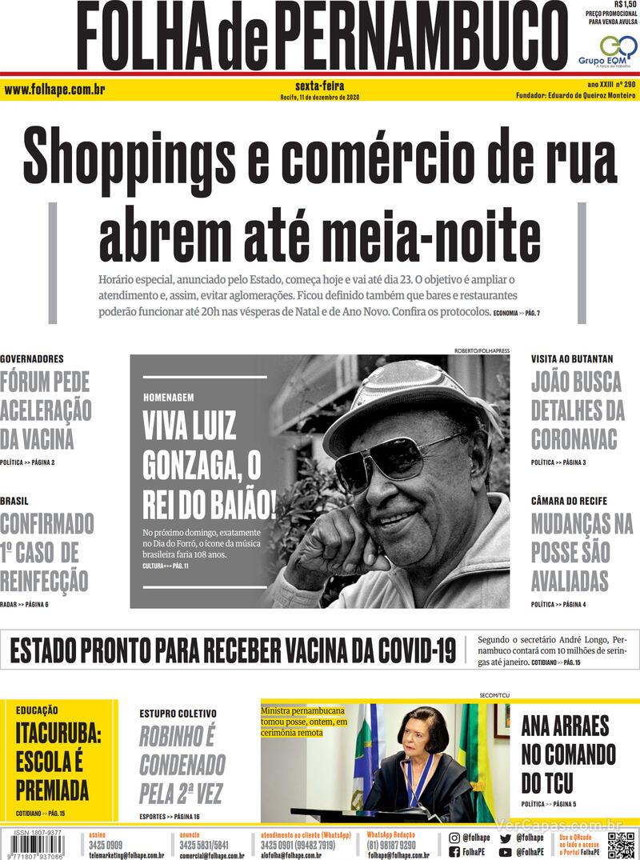 Capa do jornal Folha de Pernambuco 11/12/2020