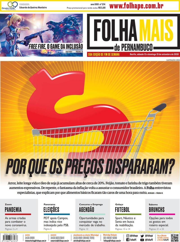 Capa do jornal Folha de Pernambuco 12/09/2020