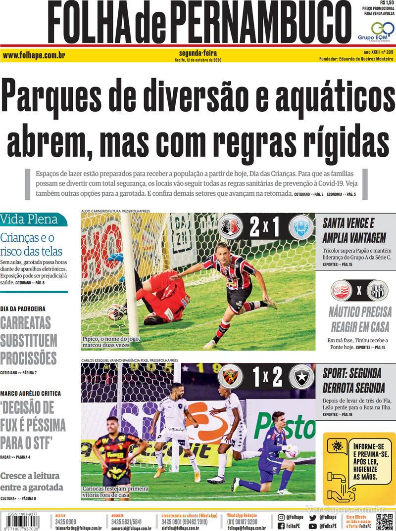 Capa do jornal Folha de Pernambuco 12/10/2020