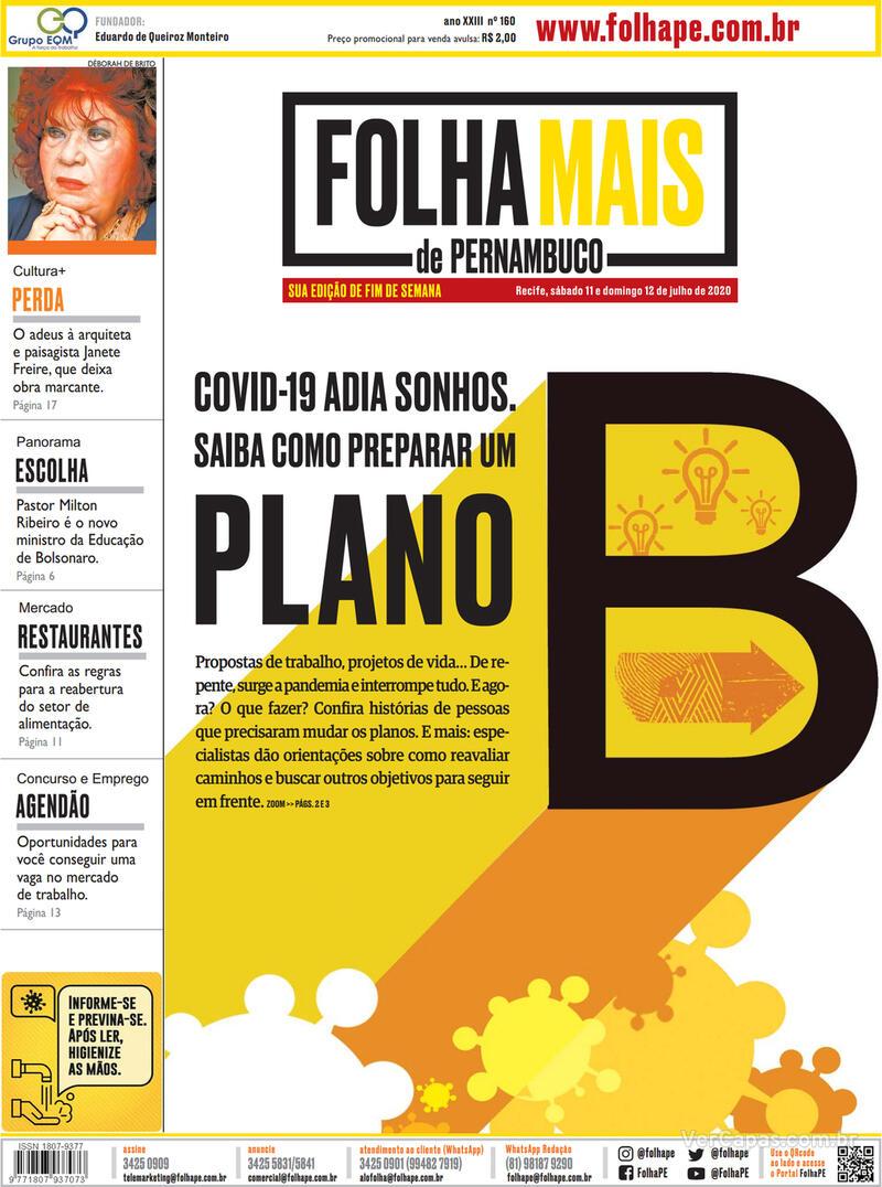 Capa do jornal Folha de Pernambuco 13/07/2020