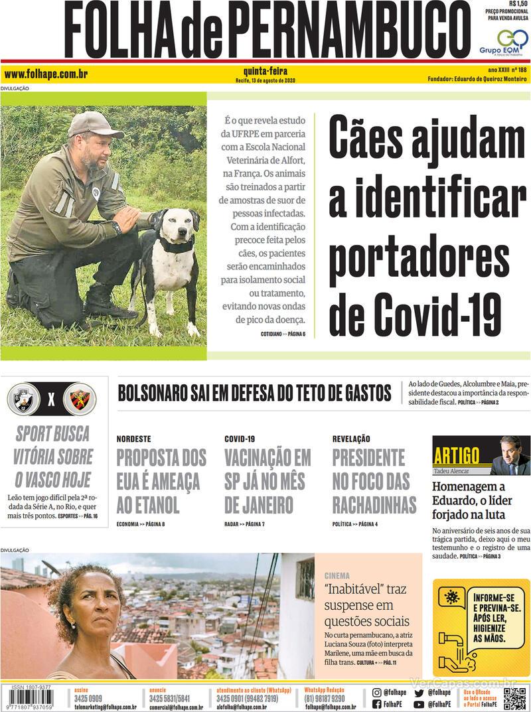 Capa do jornal Folha de Pernambuco 13/08/2020