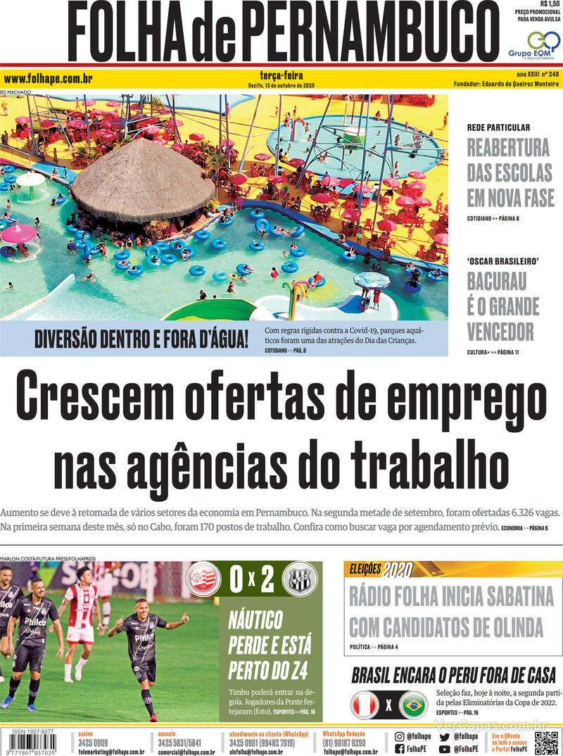 Capa do jornal Folha de Pernambuco 13/10/2020