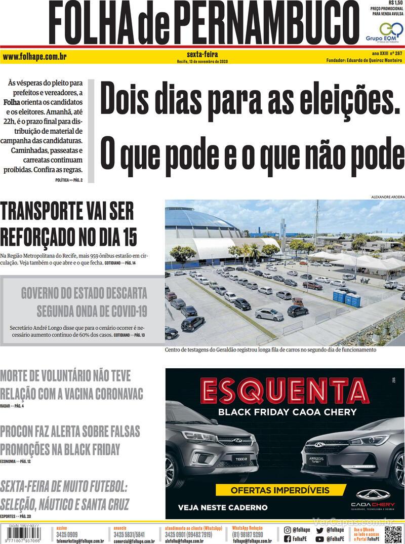 Capa do jornal Folha de Pernambuco 13/11/2020