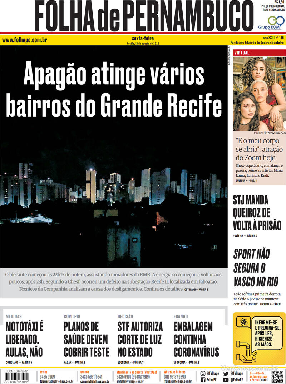 Capa do jornal Folha de Pernambuco 14/08/2020
