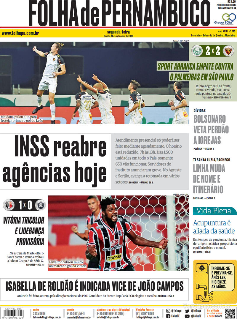 Capa do jornal Folha de Pernambuco 14/09/2020