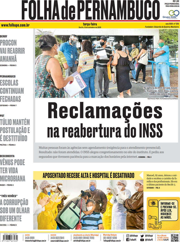 Capa do jornal Folha de Pernambuco 15/09/2020