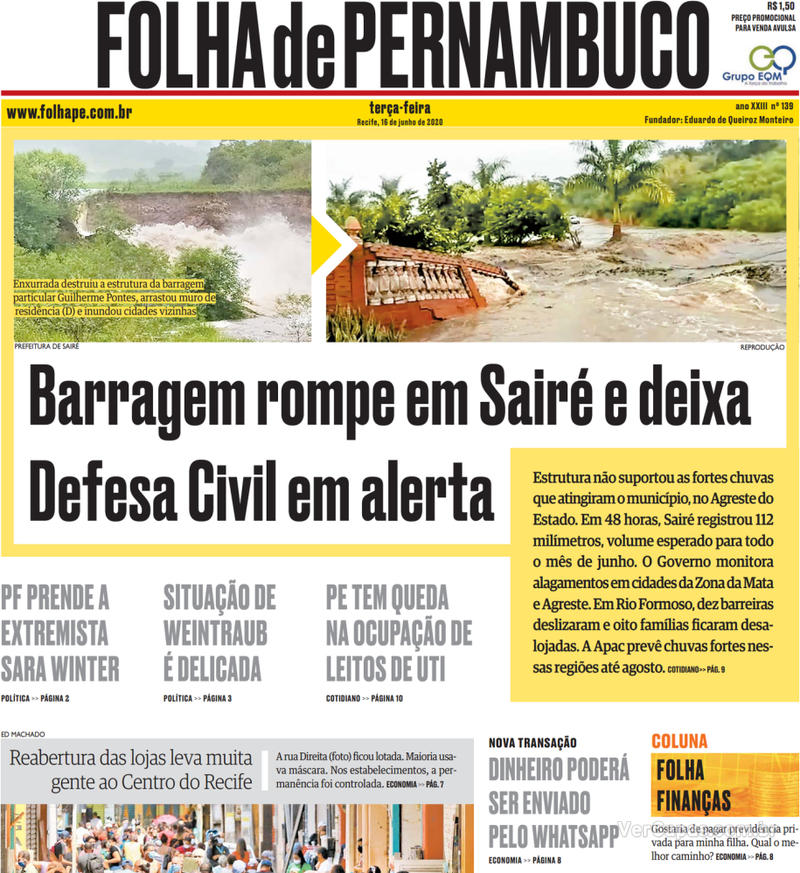 Capa do jornal Folha de Pernambuco 16/06/2020