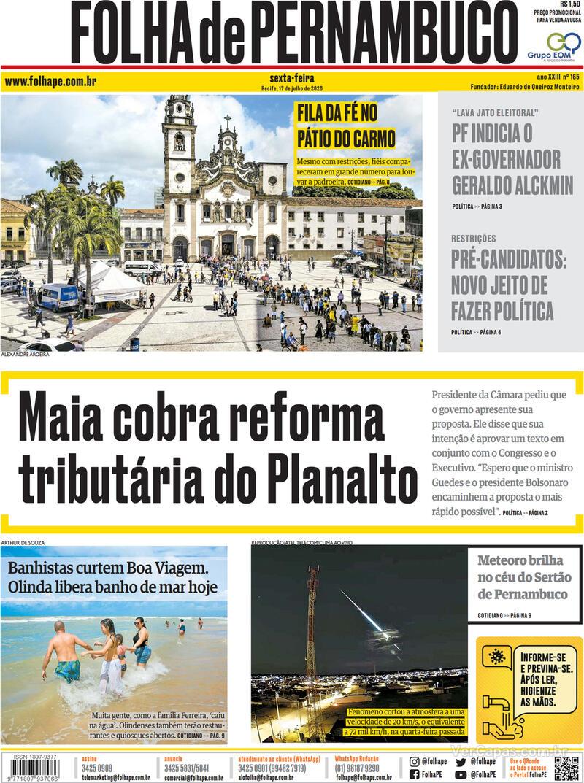 Capa do jornal Folha de Pernambuco 17/07/2020