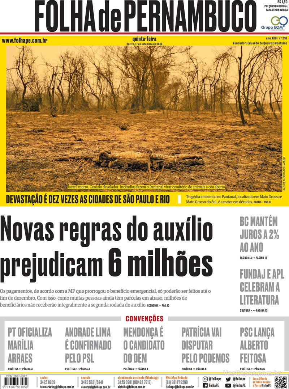 Capa do jornal Folha de Pernambuco 17/09/2020