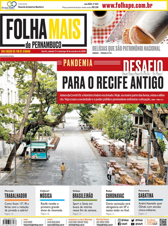 Capa do jornal Folha de Pernambuco 17/10/2020