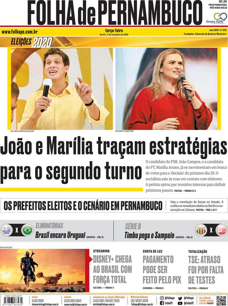 Capa do jornal Folha de Pernambuco 17/11/2020