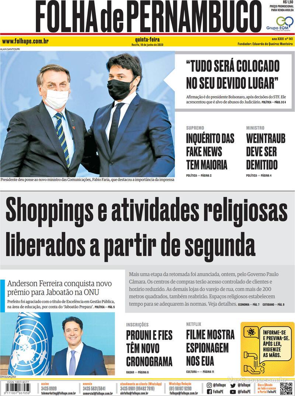 Capa do jornal Folha de Pernambuco 18/06/2020