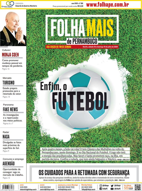 Capa do jornal Folha de Pernambuco 18/07/2020