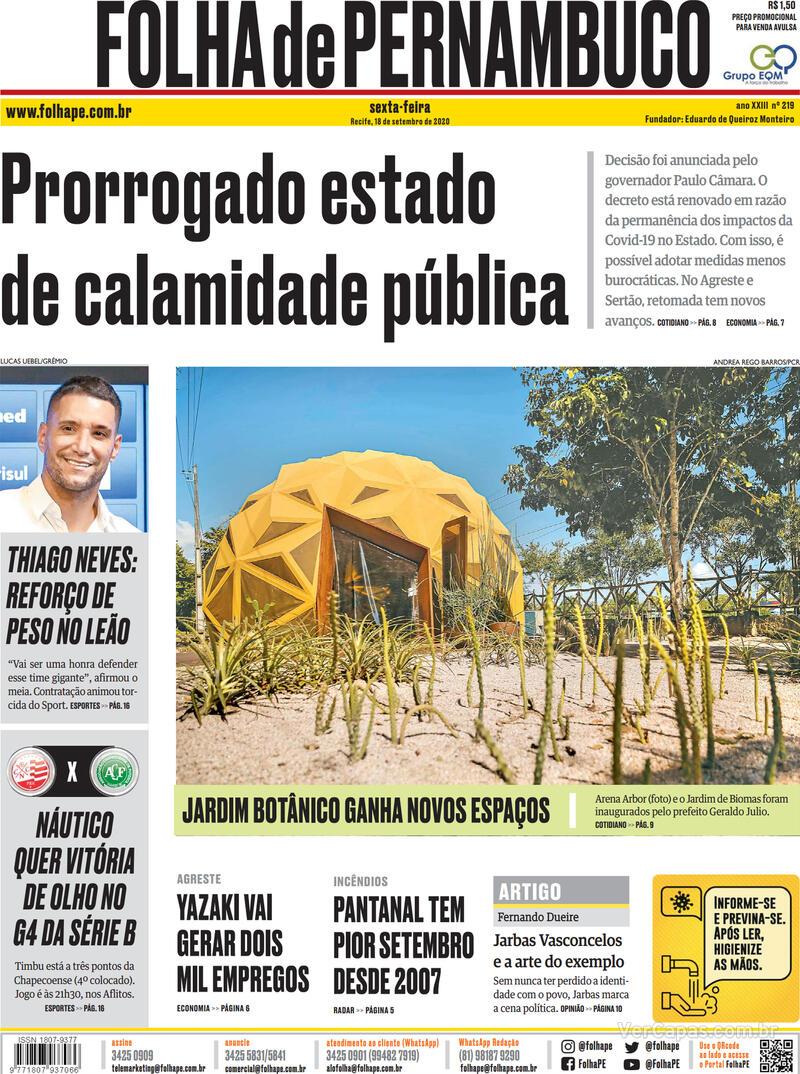 Capa do jornal Folha de Pernambuco 18/09/2020