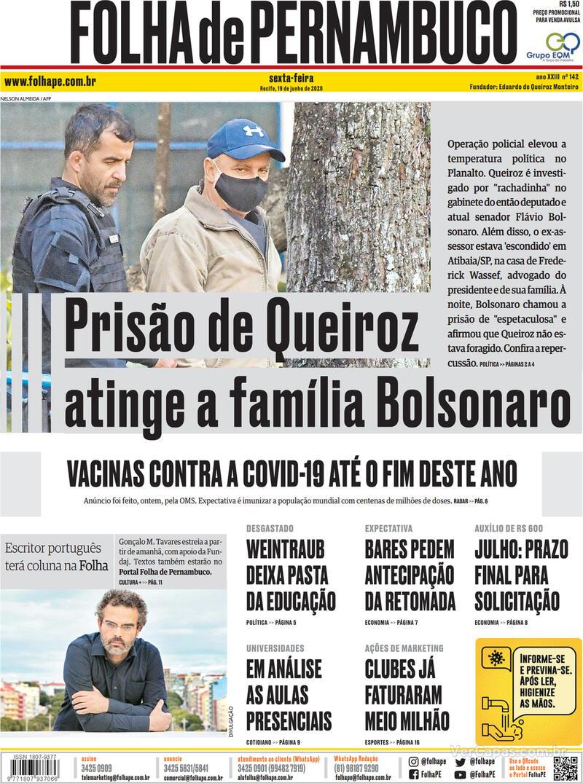 Capa do jornal Folha de Pernambuco 19/06/2020