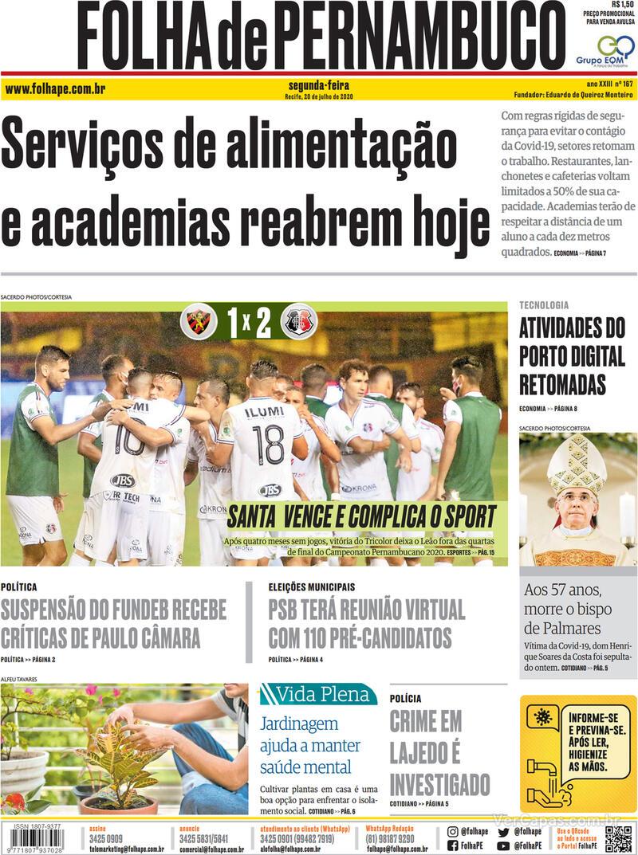 Capa do jornal Folha de Pernambuco 20/07/2020