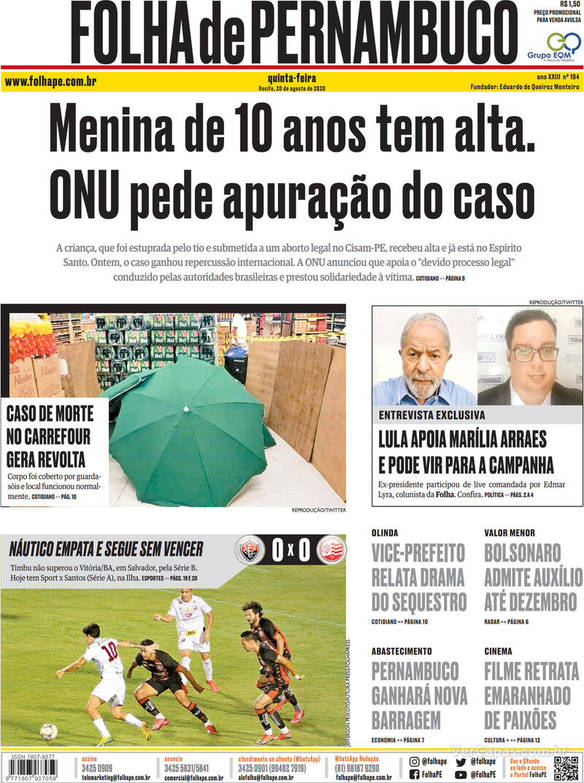 Capa do jornal Folha de Pernambuco 20/08/2020