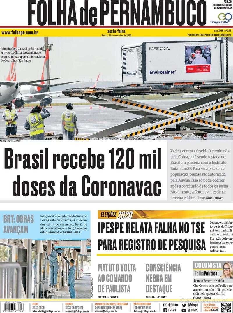 Capa do jornal Folha de Pernambuco 20/11/2020