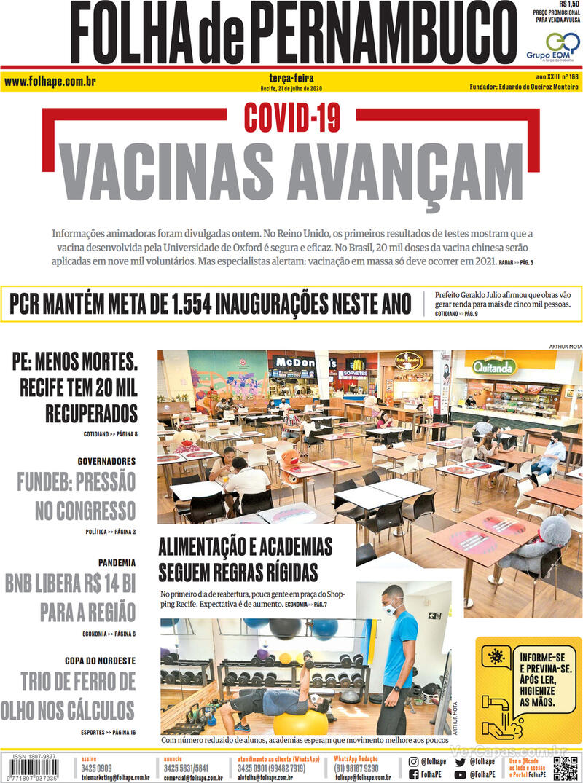 Capa do jornal Folha de Pernambuco 21/07/2020