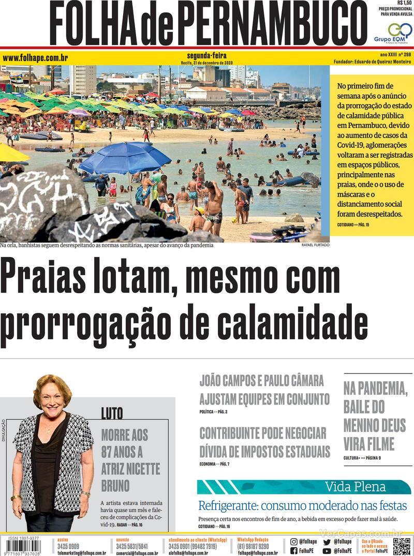 Capa do jornal Folha de Pernambuco 21/12/2020