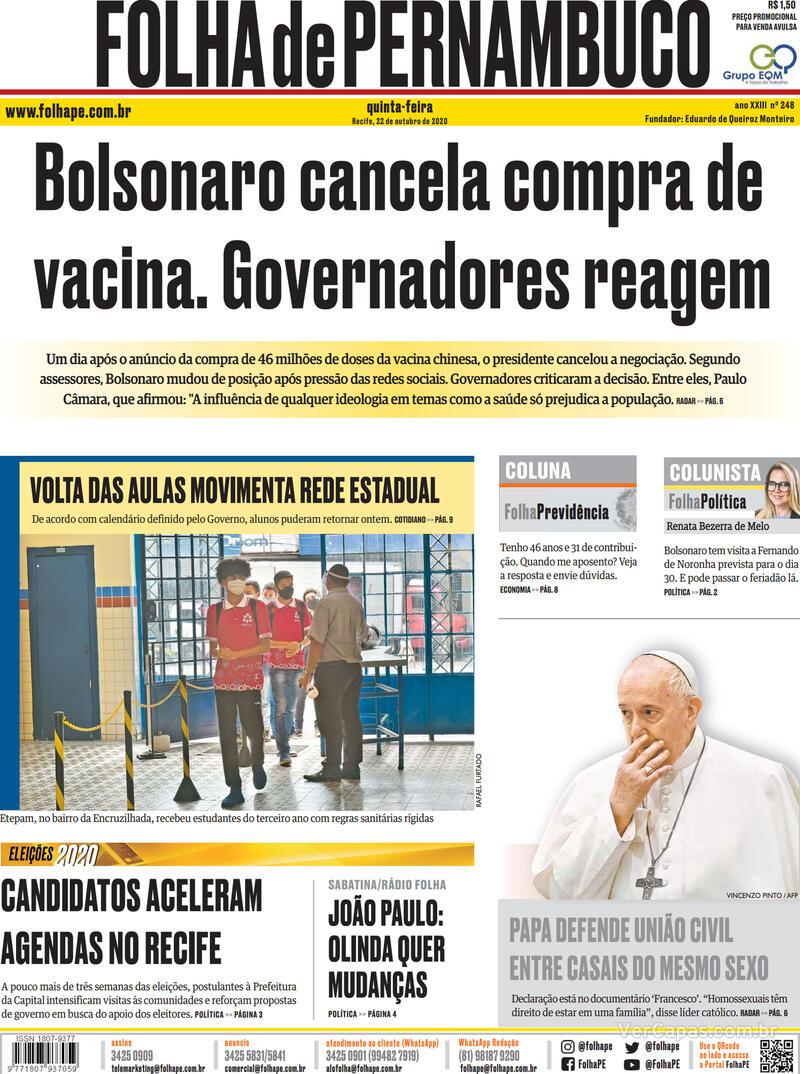 Capa do jornal Folha de Pernambuco 22/10/2020