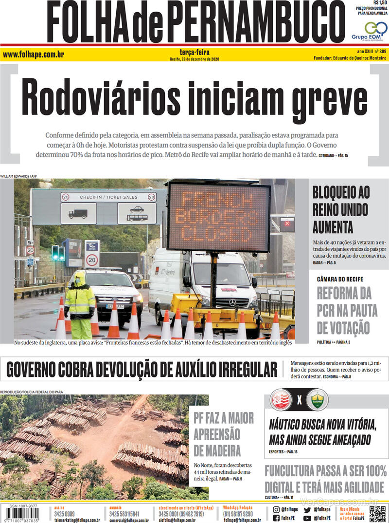 Capa do jornal Folha de Pernambuco 22/12/2020
