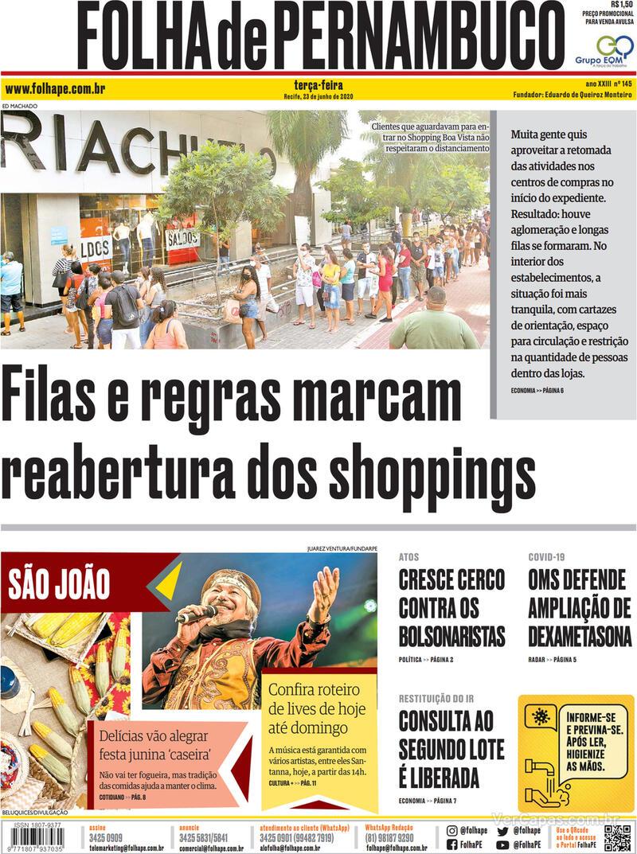 Capa do jornal Folha de Pernambuco 23/06/2020