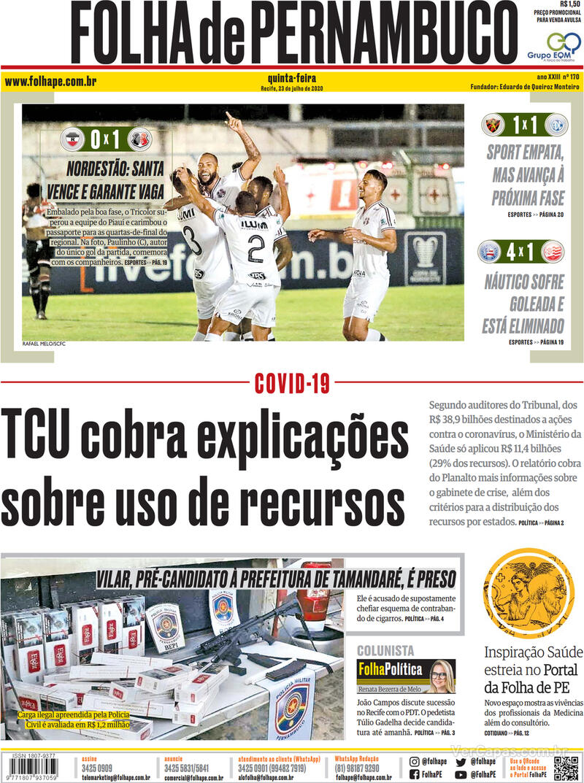 Capa do jornal Folha de Pernambuco 23/07/2020