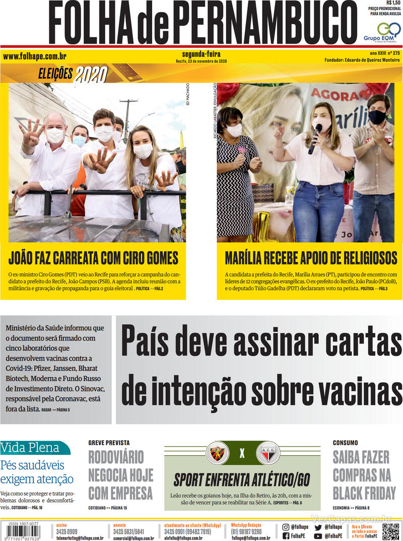 Capa do jornal Folha de Pernambuco 23/11/2020