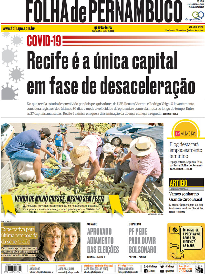 Capa do jornal Folha de Pernambuco 24/06/2020