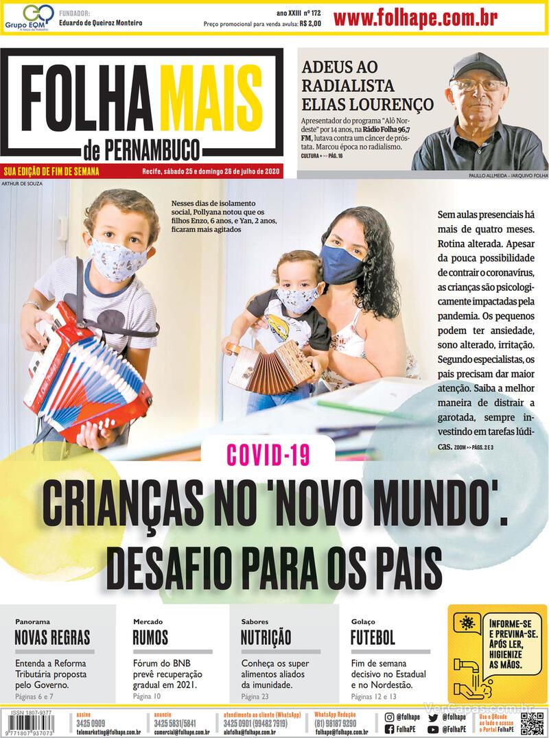 Capa do jornal Folha de Pernambuco 25/07/2020