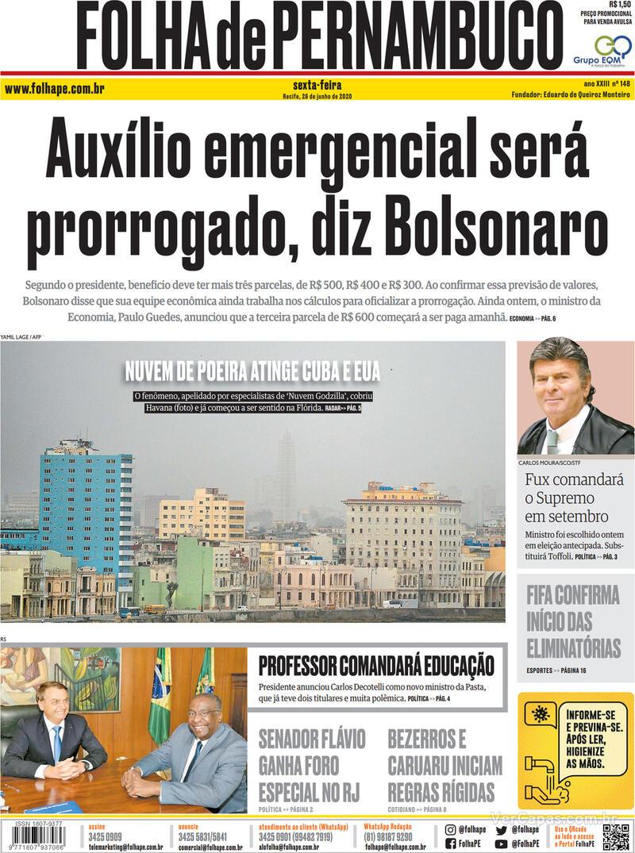 Capa do jornal Folha de Pernambuco 26/06/2020