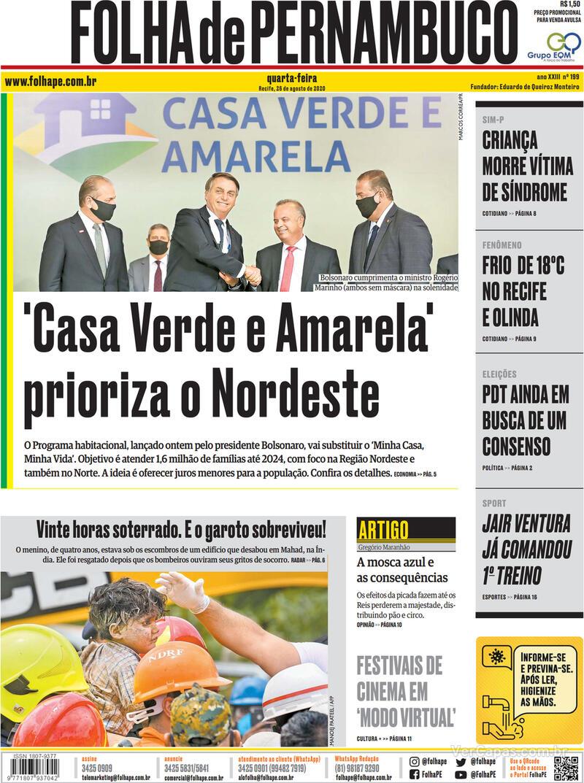 Capa do jornal Folha de Pernambuco 26/08/2020