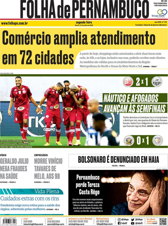 Capa do jornal Folha de Pernambuco 27/07/2020