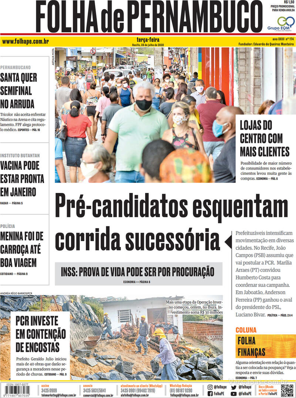 Capa do jornal Folha de Pernambuco 28/07/2020