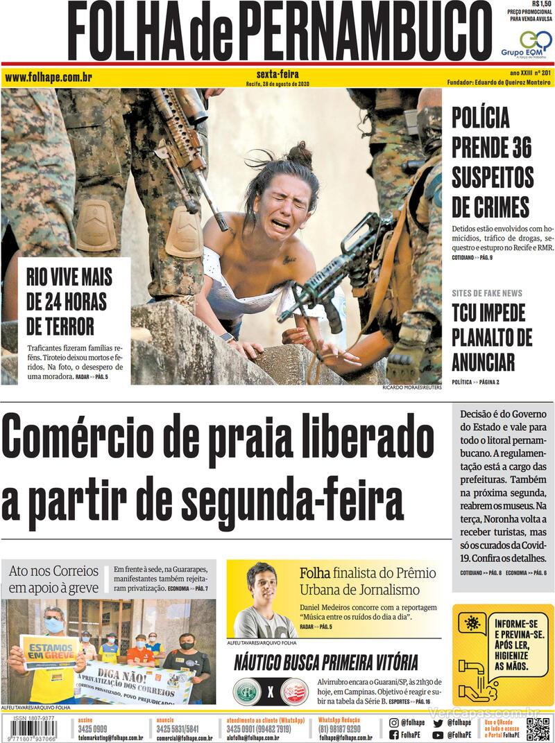 Capa do jornal Folha de Pernambuco 28/08/2020