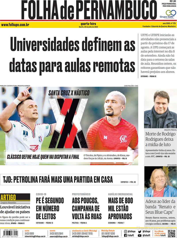 Capa do jornal Folha de Pernambuco 29/07/2020