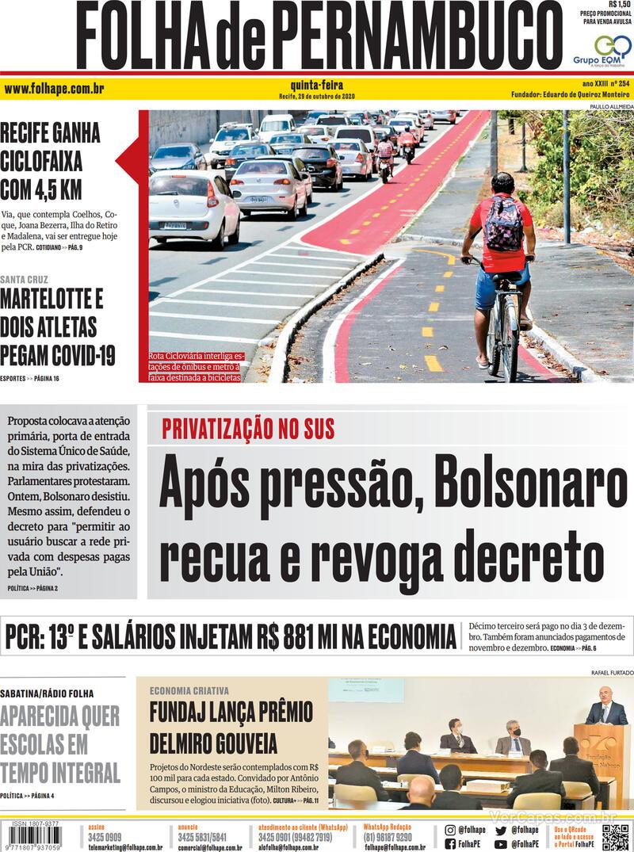Capa do jornal Folha de Pernambuco 29/10/2020