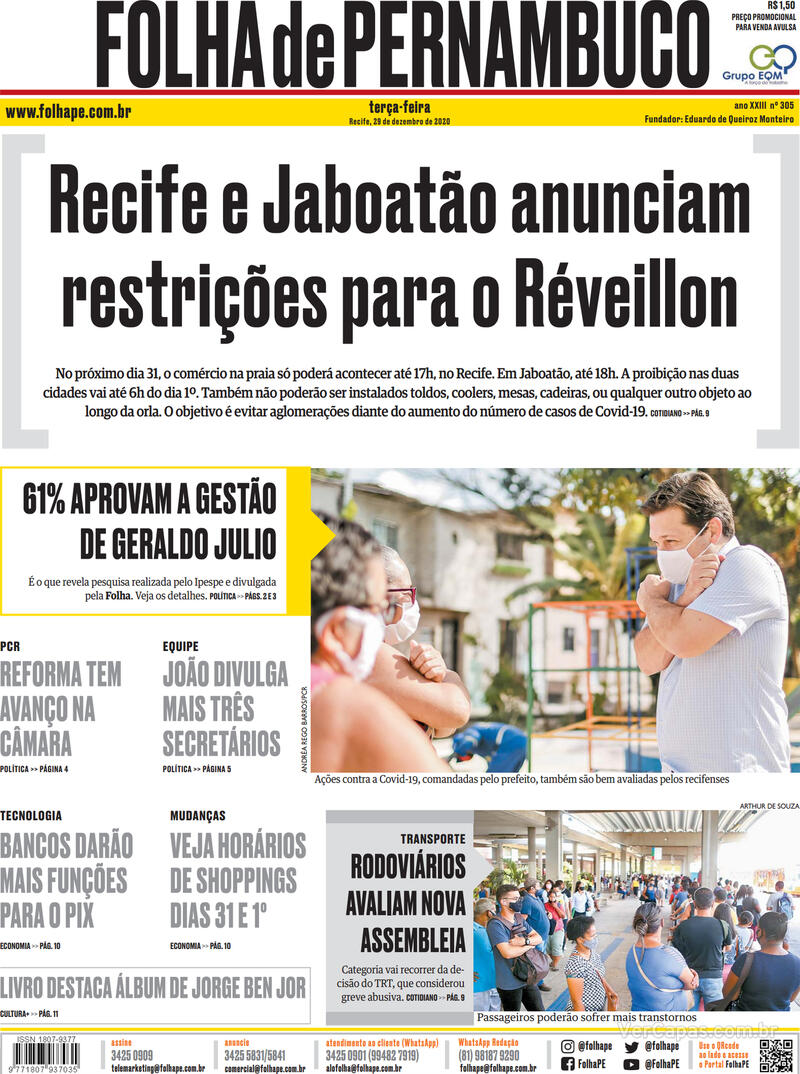 Capa do jornal Folha de Pernambuco 29/12/2020