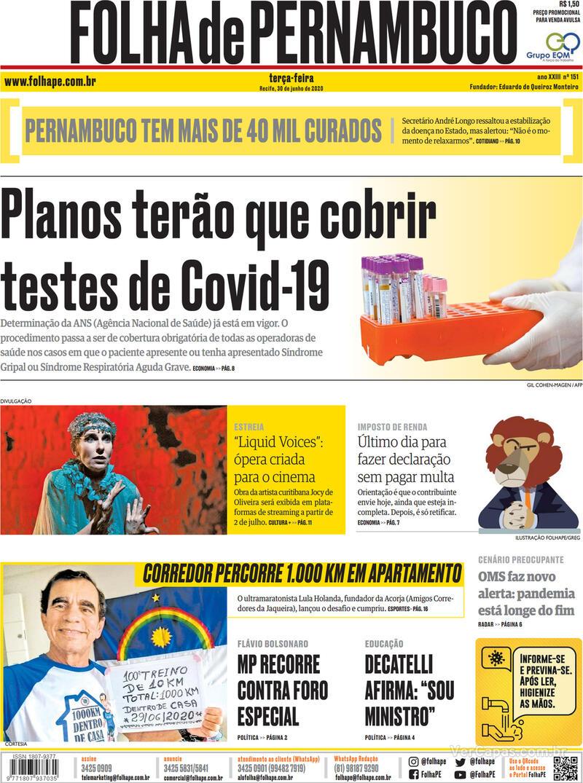 Capa do jornal Folha de Pernambuco 30/06/2020