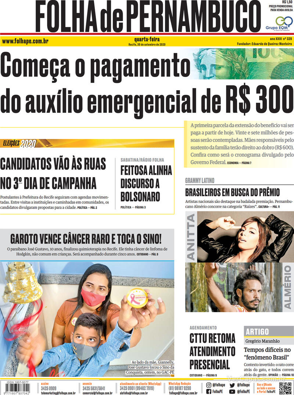 Capa do jornal Folha de Pernambuco 30/09/2020