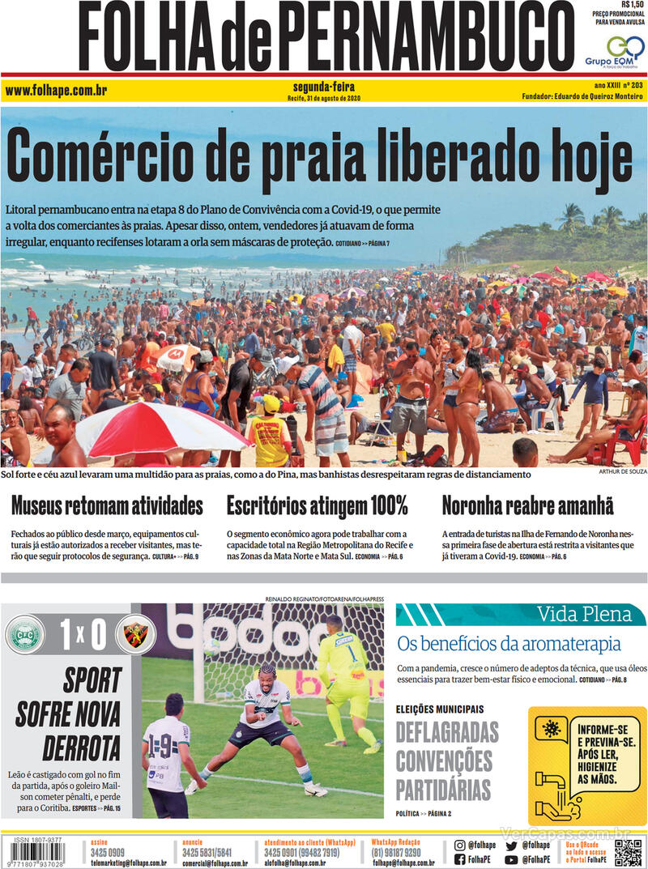 Capa do jornal Folha de Pernambuco 31/08/2020